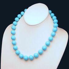 HONG KONG Vintage Necklace Mid Century Large Chunky Aqua Blue Beads