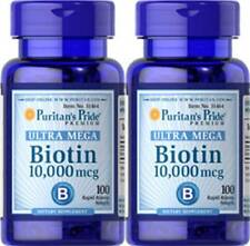 Puritan's Pride Ultra Mega Biotin 10,000 mcg 200 Sgel Skin Hair Nail + Bonus