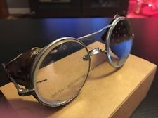 Vintage Glass & Metal Goggles Steampunk Aviator Motorcycle Leather Sides safety