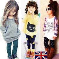 2pcs enfant bébé enfants fille tenues vêtements t-shirt manches longues haut +