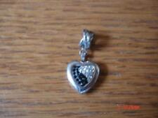 KAY JEWELERS CHARMED MEMORIES HEART LOCKET BLACK CLEAR SWAROVSKI STERLING SILVER