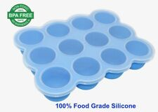 Silicone Baby Food Freezer Tray with Clip-on Lid, Storage Container 12 Large Cup
