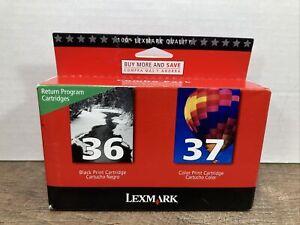 GENUINE Lexmark 36 37 Ink Cartridges Black & Color Combo Set Free Shipping