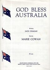 Sheet Musiic: GOD BLESS AUSTRALIA (Jack O'Hagan) National Anthem Candidate VGC+