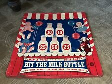 rare 1930's Wyandotte Toys Hit The Milk Bottle Vintage Carnival Games Sign tin