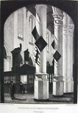 ORIGINAL ETCHING Print - Interior of a Protestant Temple