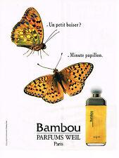 PUBLICITE ADVERTISING 054  1989  WEIL  parfum BAMBOU