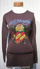 NWT Ed Hardy Eternal Love Womens Rhinestone L/S T-Shirt S Brown MSRP$120