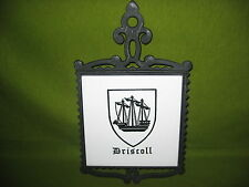 6 INCH DRISCOLL  COAT  OF  ARMS  CAST  IRON  TRIVET  HOT  PLATE CERAMIC TILE