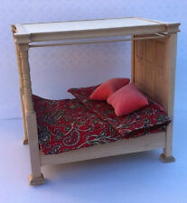 Double Four Poster Tudor Bed with Paisley Bedding Barewood Doll House Miniatures