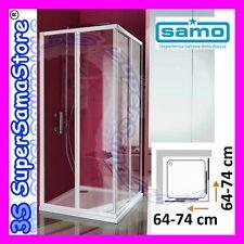 3S BOX DOCCIA SAMO modello CIAO CRISTALLO TRASPARENTE - PIATTO QUADRATO 64-74 cm