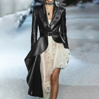 Damenmode Designer Kunstleder Mäntel Falten Falbala Nachtclub Asymmetrisch Jacke