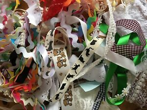 Large 100g Bundle  Ribbon,Lace,Bead Offcuts,Bows & trimmings  -Great for crafts