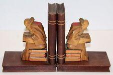Set of 2 Vintage Carved Wood Book Ends Older Wise Man Sitting Reading