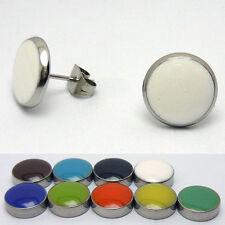 1 Paar farbige Edelstahl Ohrstecker Ohrringe rund Cabochon Ear Stud 6-20 mm
