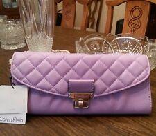 Calvin Klein Addie leather clutch, color iris