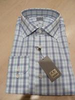 NEW $265 IKE BEHAR Mens Dress SHIRT 16.5 34 35 Italy Cotton BC GOLD navy checks