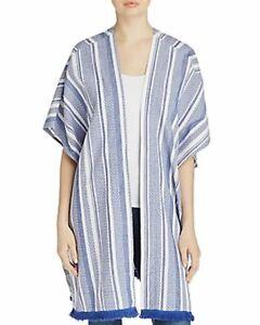 Echo Striped Blanket Kimono Wrap, Swim Cover-Up - Blue - One Size #5611