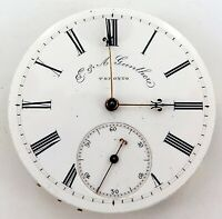 VINTAGE E A GUNTHER, TORONTO, CANADA KEY WIND POCKET WATCH MOVEMENT & DIAL.