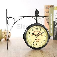 Retro Antique Double Side Wall Mount Clock Garden Hallway Outdoor Station Decor