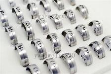 Wholesale Job lots 6ps Silver Skull 316L Stainless steel Man Wedding Rings FREE