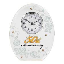 Mirror 50th Golden Wedding Anniversary Clock 16.5cm High