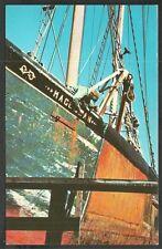 Fishermen Touching Up the Fishing Boat Magellan on Cape Cod Chrome Postcard