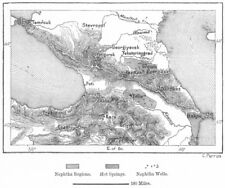 Caucaso Georgia. HOT Springs nafta, Schizzo Mappa c1885 Vecchio Antico Grafico