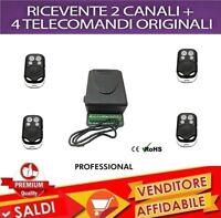 KIT RICEVENTE 2 CANALI 5 A + 4 TELECOMANDI 433 MHZ CANCELLI SERRANDE LUCI