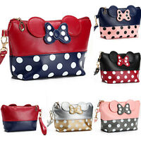 Women Cosmetic Case Pouch Clutch Bag Mickey Minnie Mouse Bow Polka Dot Handbag