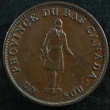 LC-8B2 Halfpenny token Un sou 1837 Lower Bas Canada Quebec Bank Breton 522