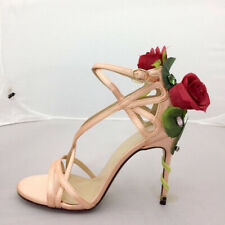 Ladies Stilettos High Slim Heels Peep Toe Pumps Rose Flowers Rhinestones Sandals
