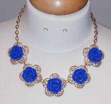 Blue Rose Flower, Clear AB Rhinestone & Goldtone Bib Necklace - NEW