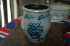 Rowe Pottery Handmade Stoneware Salt Glaze Cobalt Blue Apple American Flag Crock