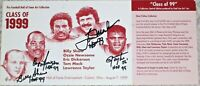 NEWSOME,SHAW, MACK, TAYLOR AUTOGRAPHED SIGNED 1999 HALL OF FAME POSTCARD