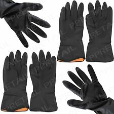 2 Pairs Black +RUBBER GLOVES+ Rubber Latex Thick Quality Embossed Extra Grip