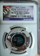 NGC PF70 Australia 2014 Opal Series Tasmanian Devil Silver Coin 1oz
