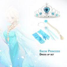 Frozen Princess Elsa Anna Gloves Tiara Crown Braid Wig Hair Piece Wand Kid A