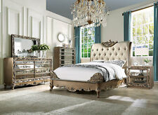Traditional Antique Gold Mirror Bedroom Furniture - 5pcs King Fabric Bed Set AAQ