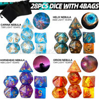 7 Set 28Pcs Acrylic Dice Polyhedral for TRPG DND RPG MTG Playing Game D4-D20
