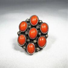 Vintage Navajo Sterling Silver Coral Cluster Ring C2754