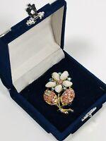 Vintage Brooch Silver Tone Flower Glass & Aurora Borealis Crystals Pretty Kitsch