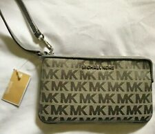 NEW MICHAEL KORS JET SET TRAVEL LARGE TOP ZIP SIGNATURE HEATHER GREY WRISTLET