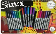Sharpie Permanent Markers, Ultra Fine Point, Assorted Colors, 21-Count