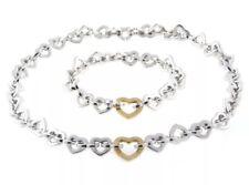 "Tiffany & Co. Heart Link Necklace Bracelet Set Sterling & 18K Gold 7.5"" / 16"""