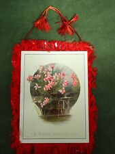Victorian Trade Card Christmas Tree Ornament Red Fringe Dbl Side Card