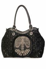 Banned Flocked Cameo Ribcage Skull Studded Frilled Victorian Style Handbag