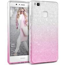 COVER Custodia Glitter GRADIENTE Morbida Silicone GEL per Huawei P9 LITE Rosa