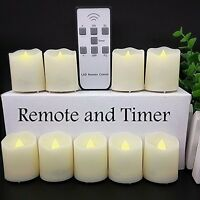 Moving Wick Led Flameless Candles LED Votive Tea w/ Remote Control Timer 9 Pcs