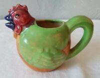 Small Vintage Colorful Pottery Chicken Shaped Creamer Pitcher